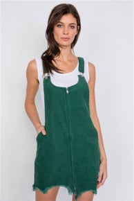Le Lis Green Front Zipper Shark Bite Raw Hem Mini Overall Corduroy Dress