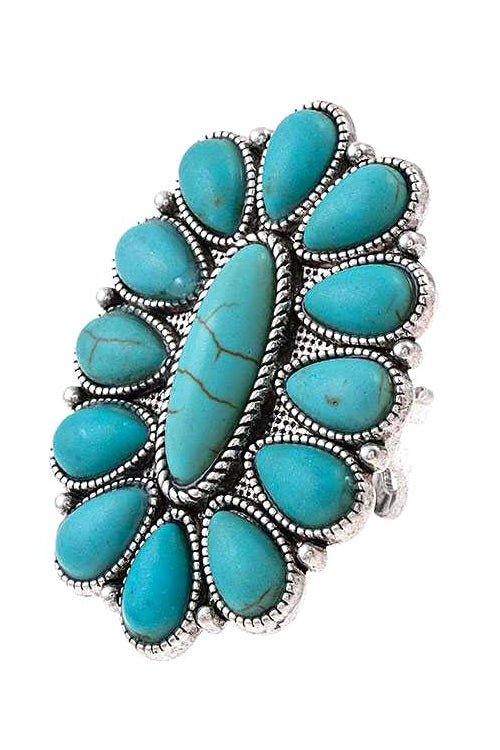 HIGH POLISH TEXTURED WESTERN CONCHO FLOWER STYLE WITH NATURAL STONE CUFF RING