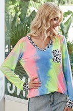 V-Neck Tie Dye Print Long Sleeve Top
