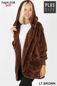 Zenana LONG SLEEVE HOODED FAUX FUR COCOON JACKET WITH POCKETS