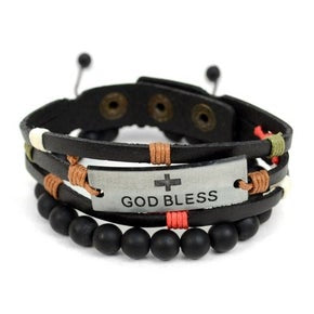 God Bless Genuine Leather & Stone Men Bracelet Set