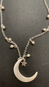 Crave Satin Silvertone Crescent Moon Necklace