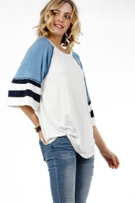 My Story Boxy 3/4 sleeve raglan top with reverse stitching and striped sleeves