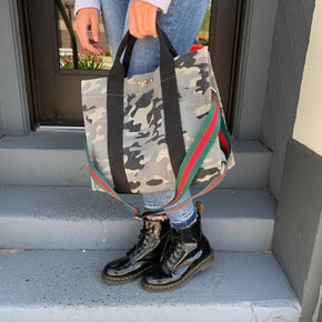Pretty Simple Canvas Cross Body Camo Tope Stripe Strap