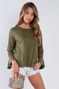 Very J Olive Long Mesh Sleeve Top