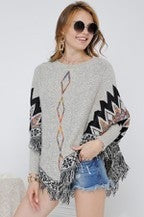 Adora Tribal Sweater Poncho with Fringes