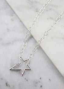 Lessie Star Necklace With Cz Accent Silver