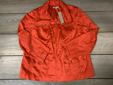 Laura Ashley Size 2X RICH Dark Coral-Orange Ruched Crinkled Zip-Up Jacket NWT