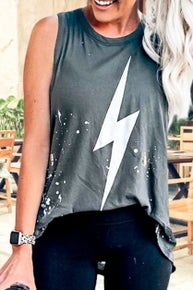 Mazik Sleeveless vintage printed distressed Lightning Bolt Top