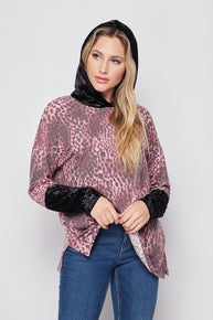 Honeyme Leopard Hoodie with Velvet Contrast