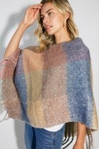 Knit Trend Pastel Color Block Brushed Poncho