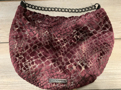 BCBG Generation Faux Fur Snake Skin Pattern Purse Chain Strap Purple Shoulder