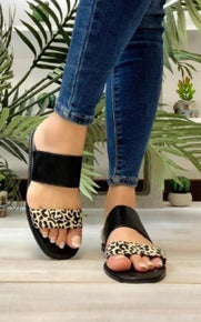 Mata Shoes Leopard Black Two Strap Sandals