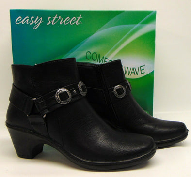 Women's Easy Street BAILEY Black Zip-up Bootie Ankle Boot Shoes Sz 7.5M