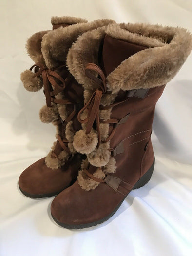Sporto Meagan Brown Suede Faux Fur Suede Lace Up Boots 6 1/2 Wide