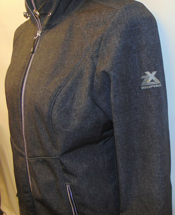 Womens Zeroxposur XL Softshell Jacket Super Lightweight Black Gray Fleece Lined