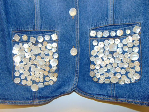 New Identity Denim Blue Jean Trophy Jacket White MOP Buttons women sz XL