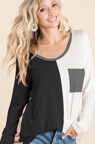 BiBi COLOR BLOCK KNIT LONG SLEEVE TOP WITH FRONT PATCH POCKET
