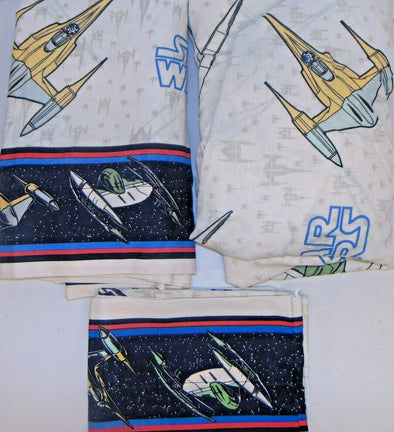 STAR WARS 3pc Twin Bed Sheet Set Flat Fitted Pillowcase Starfighter Excellent