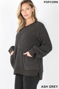 Zenana Front Pocket Popcorn Sweater