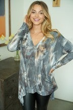 White Birch Long Sleeve Tie Dye Knit top