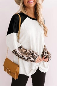 Leopard Long Sleeve Waffle Knit White Blouse