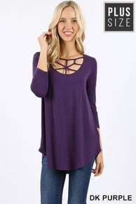 Zenana Plus Criss Cross Top