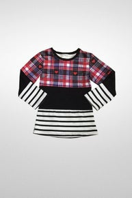 Toby Boys Girl's Color Block Stipe Plaid Top
