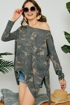 Adora Washed Camo Print Raw Edge Top