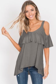7th Ray HIGH LOW RUFFLED COLD SHOULDER TOP