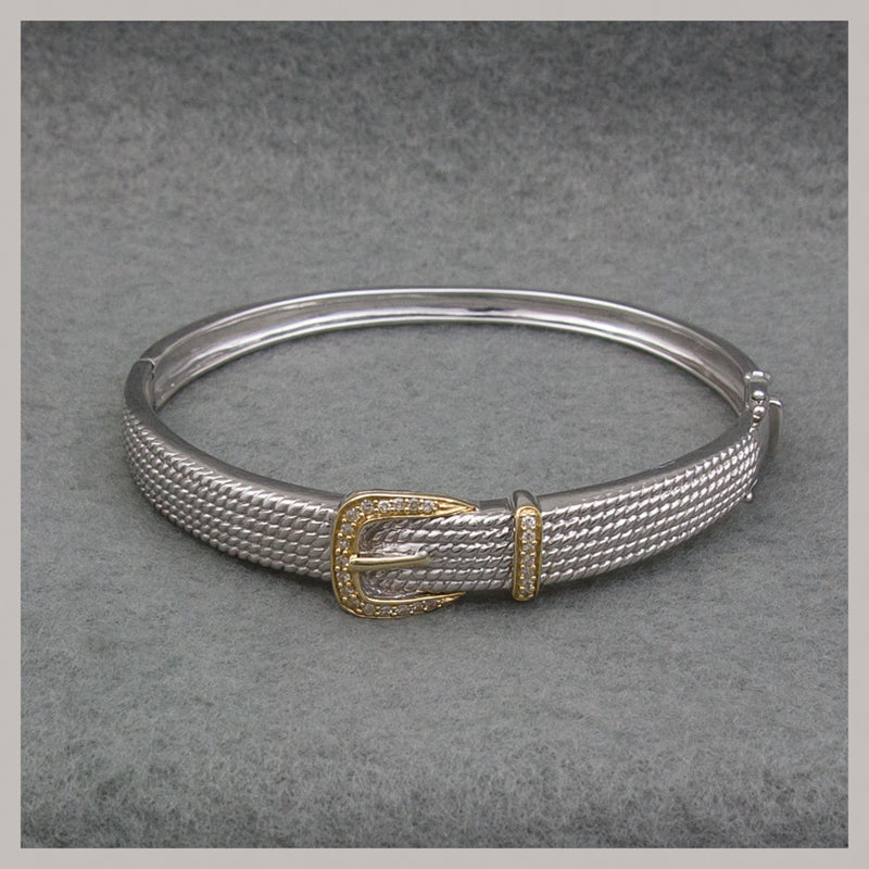 Diamond Sterling Silver/14K Bangle