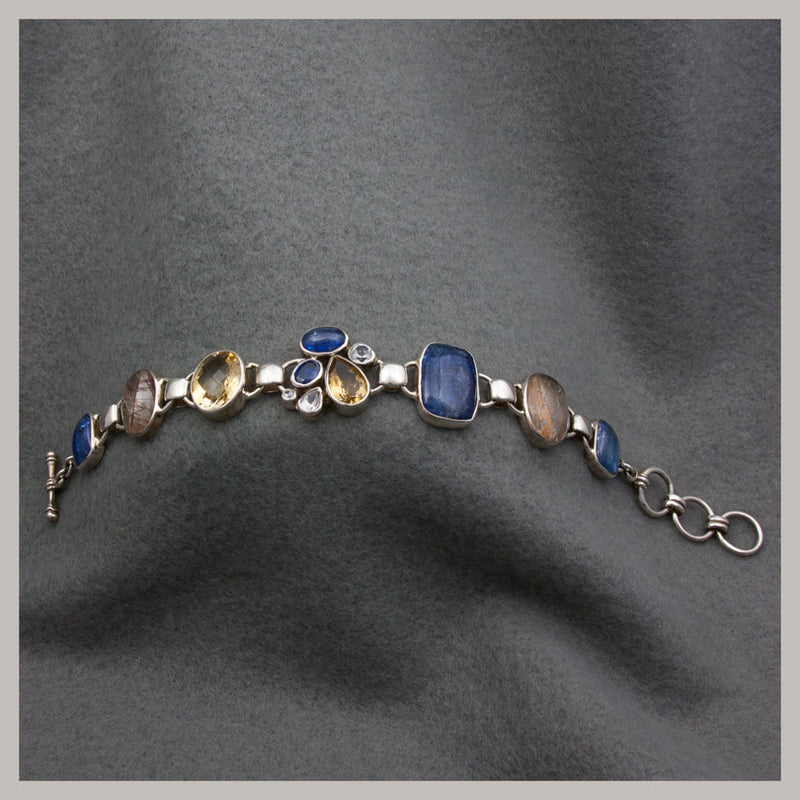 Kyanite and Rutilated Quartz Bracelet