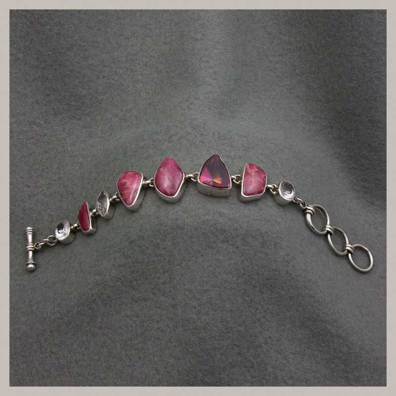 Rhodonite and Quartz Bracelet