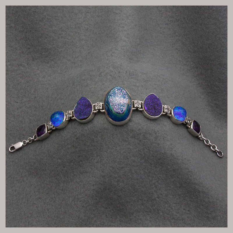 Druzy Quartz and Opalescent Bracelet