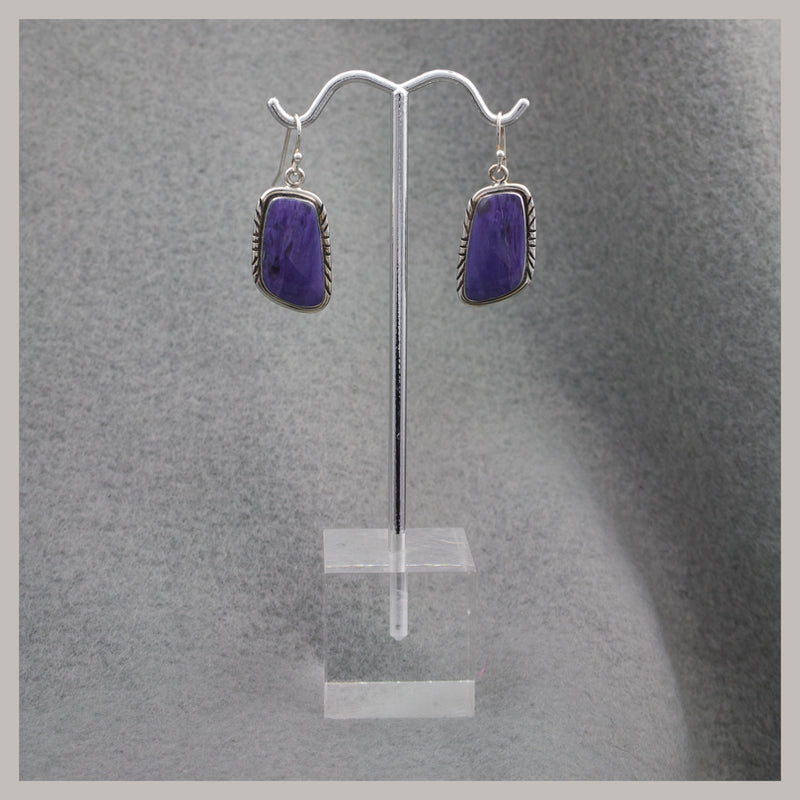 Asymetric Charoite Earrings
