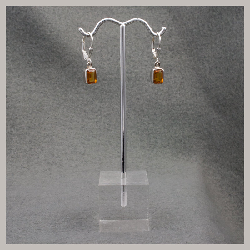 Emerald Cut Citrine Earrings