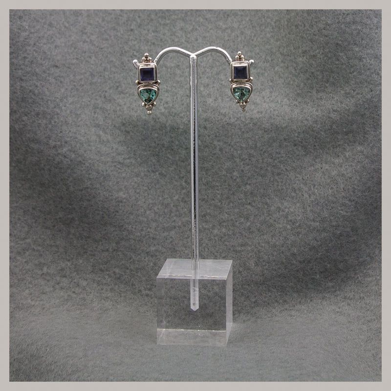 Quartz and Iolite Earrings