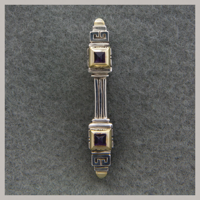 Sterling Silver and 18K Gold Amethyst Bar Pin
