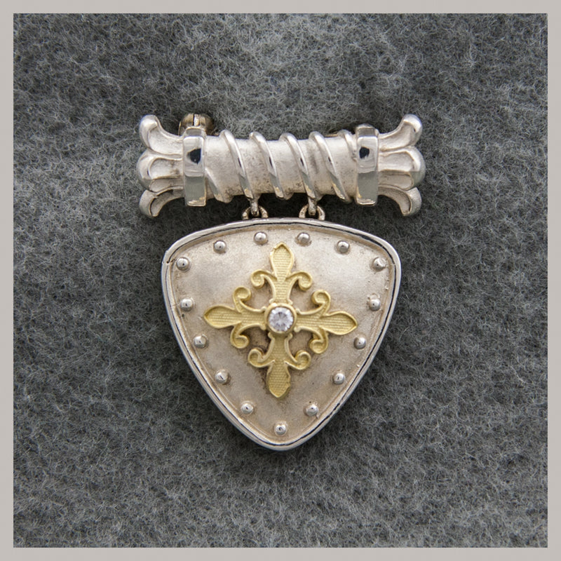 Sterling Silver and 18K Gold Diamond Shield Pin