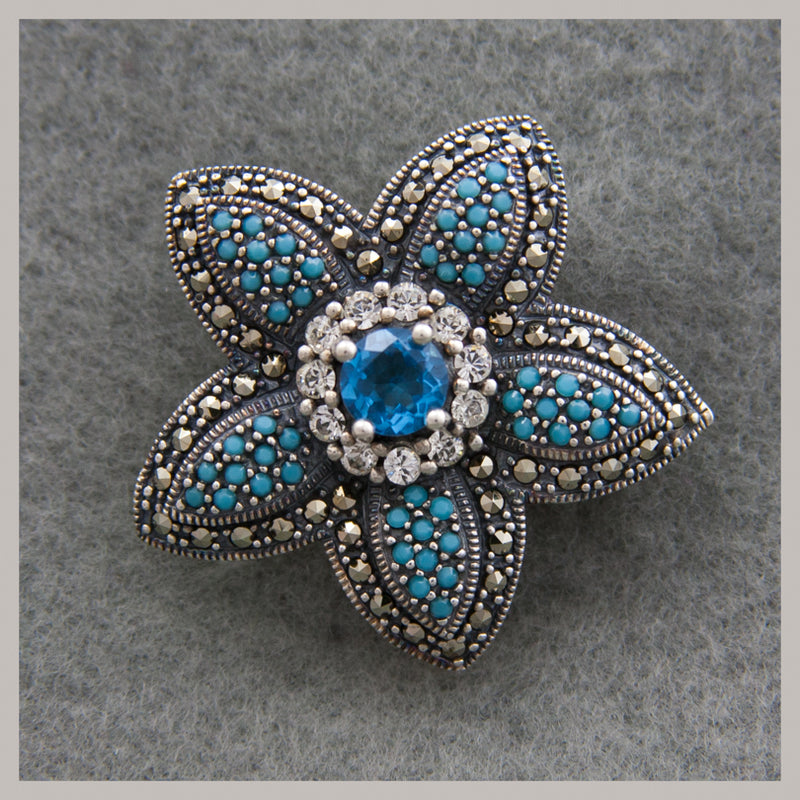 Marcasite Flower Pin