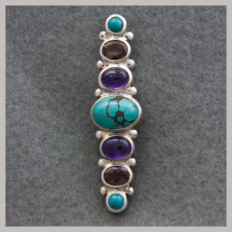 Turquoise, Amethyst, and Smokey Quartz Pin