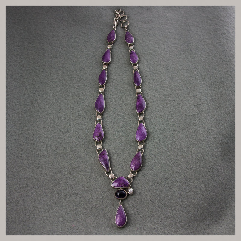 Stichtite, Amethyst, and Pearl Necklace
