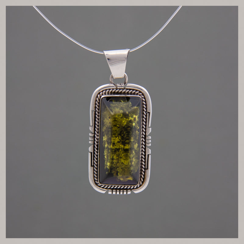 Green Amber Rectangular Pendant