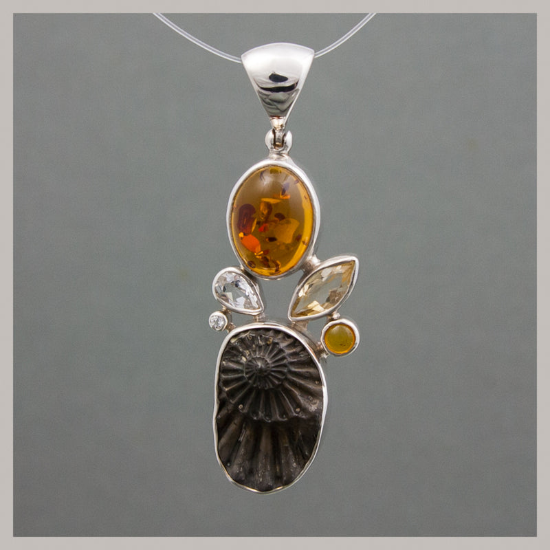 Amber and Ammonite Pendant