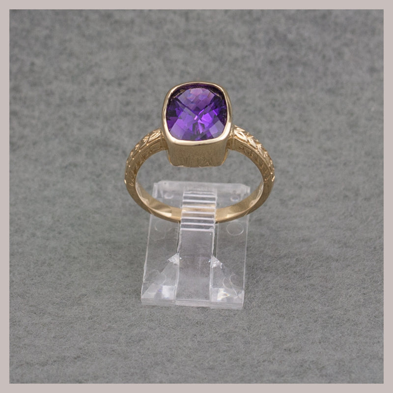 Rectangular Gold Amethyst Ring