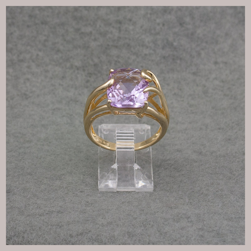 Rectangular Orchid Amethyst Ring