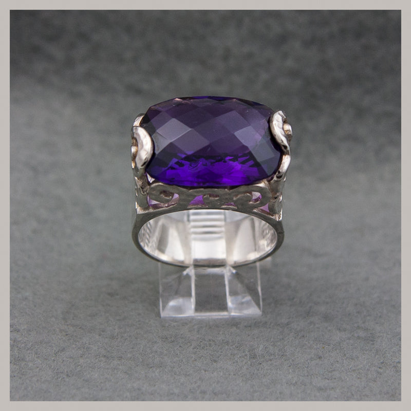 Amethyst Checkerboard Cut Oval Ring