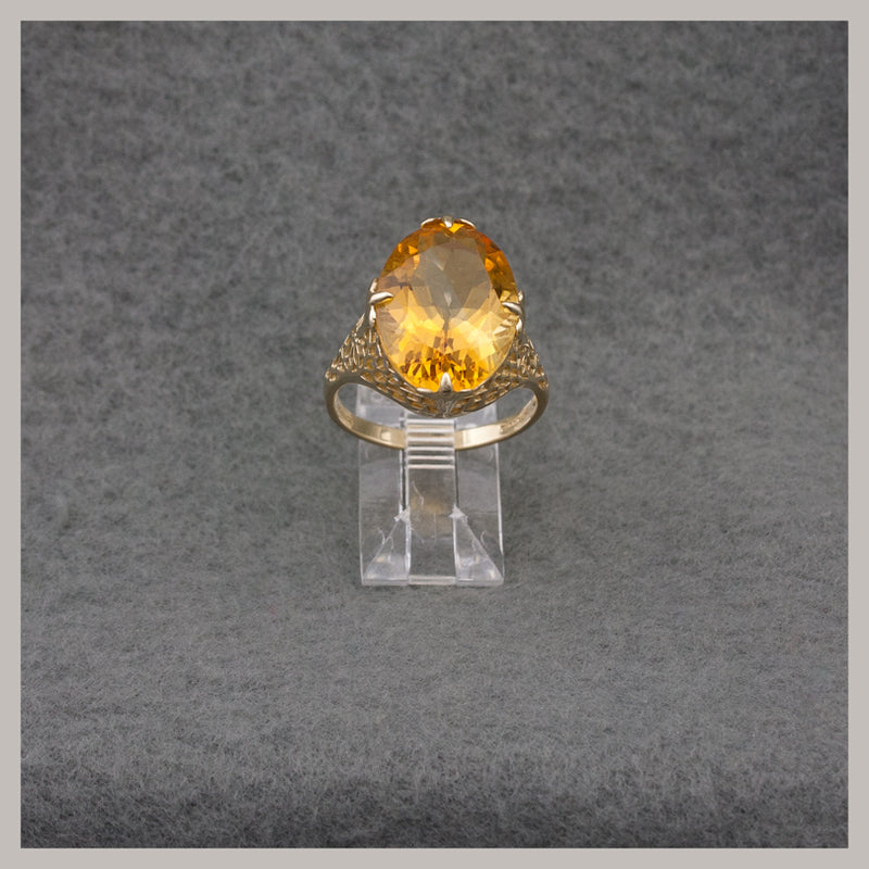 Oval Citrine and Gold Ring