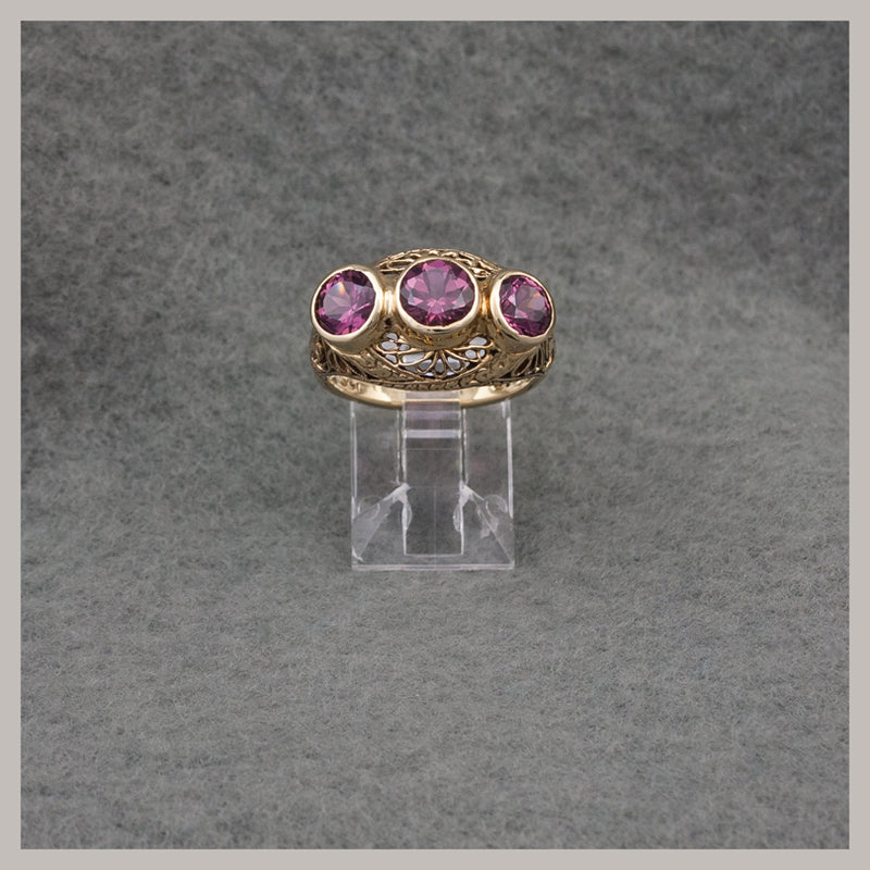 Rhodolite Garnet and Gold Ring