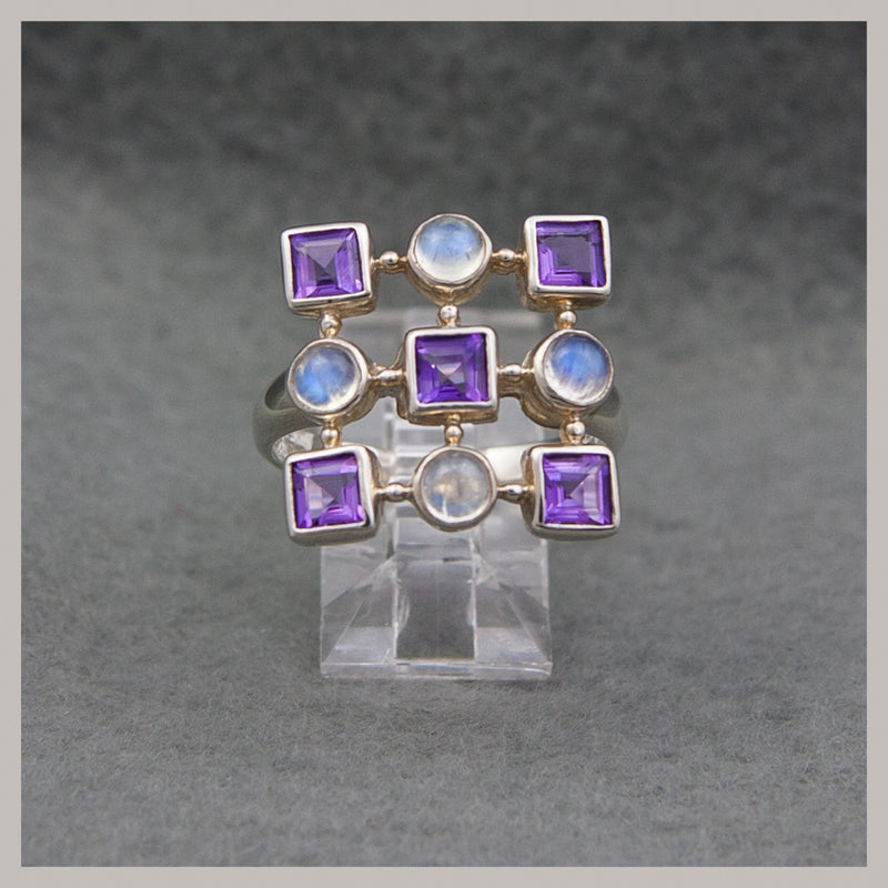Amethyst and Moonstone Ring